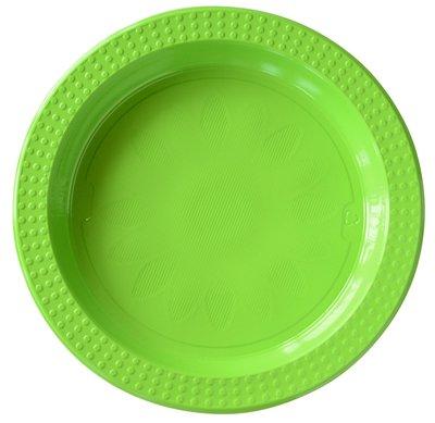 Borden set á 2 stuks Ø 22 cm en Ø 17 cm groen plastic, Colorix ** Duni