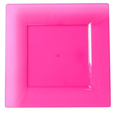Bord 20,5 cm vierkant fuchsia, plastic, Flair ***Duni