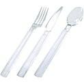 Bestekset (mes,vork en lepel)  Transparant Plastic *** Duni