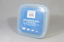 Plastic microwave bakje met deksel 4 maten per set
