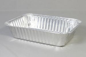 Rechthoekige aluminium wegwerp bakje 20,5x14,5x6,5 cm