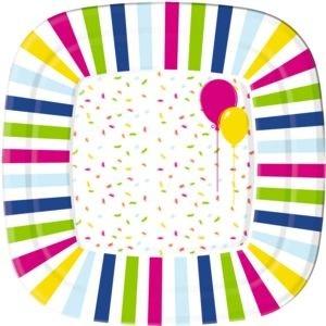 Bord, 22 cm Ballons and Confetti Duni