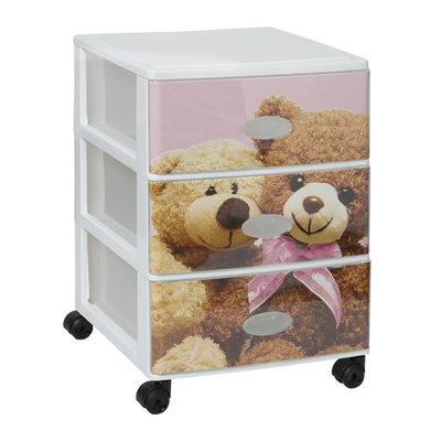 Plastic opbergrek met 3 laden en wielen teddy beer pink