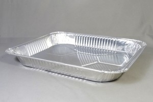 Rechthoekige aluminium folie ovenschaal voor eenmalig gebruik ca 32x25,5x3,5 cm
