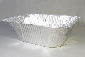 Disposable braadsledes van alu folie ca 32x26x10,5 cm 1/2 gastro