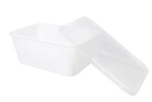 Plastic verpakkingsbakje wit SPG met transparante deksel rechthoekig 1000 cc