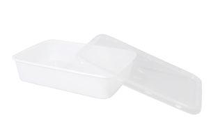Plastic verpakkingsbakje wit SPG met transparante deksel rechthoekig 500 cc