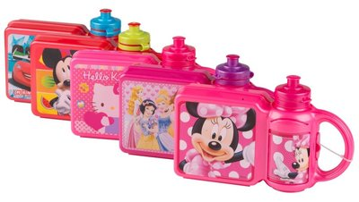 Lunchbox & drinkbeker 2 in 1 (Hello Kitty, Minny mouse, Micky mouse, Princes, Cars)