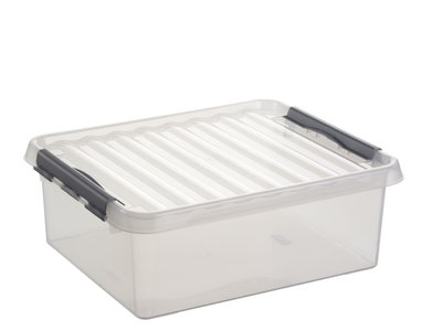 Kunststof Opbergbox 25 liter met klemdeksel, Sunware Q-line