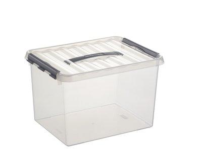 Kunststof Opbergbak 22 liter met klemdeksel, Sunware Q-line wit transparant