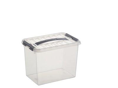 Kunststof Opbergbox 9 liter met klemdeksel, Sunware Q-line wit transparant