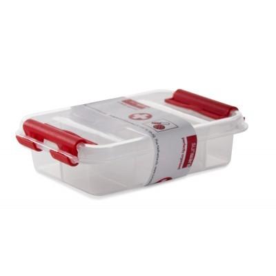EHBO Assortimentsdoos Q-line Pillendoos 0,2 L met 8 vaste vakken - transparant/rood