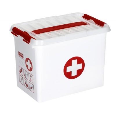 EHBO opbergbox - Met inzet met vakverdeling - 9 L - wit/transparant/rood