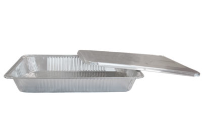 Platte aluminium wegwerp schaal ca 52,5x32x8 cm 1/1 gastro 80h zonder deksel