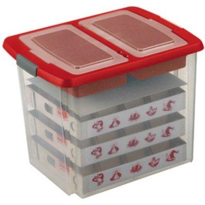 Kerstballen box + deksel met vakverdeling en inzet voor 76 kerstballen, 45 ltr. - Sunware transparant/rood