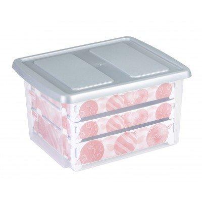 Kerstballen box, met gat-indeling voor 63 kerstballen 32 ltr. - Sunware transparant/zilver