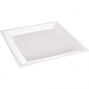 Bord 21 x 21 cm vierkant wit Milan, plastic ***Duni (set á 12 stuks)
