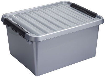 Plastic Opbergdoos 36 liter met Klemdeksel, metaal/zwart Sunware Q-line