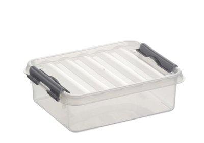 Plastic Opbergdoosje 1 liter met klemdeksel, Sunware Q-line wit transparant