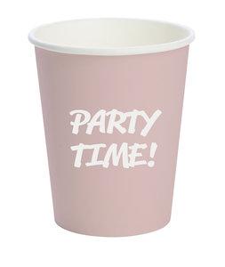 Bio papieren shotbeker, 6.5 cl, roze met tekst 'Party Time!', DUNI ecoecho