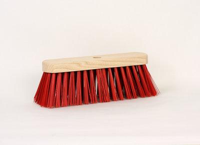 Straatbezem 29 cm rood kunstvezel