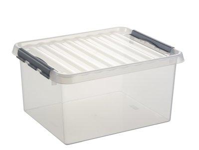 Plastic Opbergbox 36  liter met klemdeksel, Sunware Q-line wit transparant
