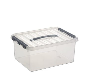 Plastic Opbergbox 15 liter met klemdeksel, Sunware Q-line Transparant