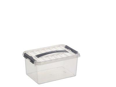 Plastic Opbergbox 6 liter met Klemdeksel, Sunware Q-line wit transparant