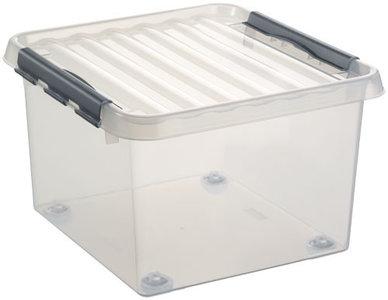 Kunststof Rollerbox 26 liter met klemdeksel, Sunware Q-line wit transparant