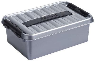 Plastic Opbergdoos 4 liter met Klemdeksel, metaal/zwart Sunware Q-line
