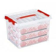 Kerstballen box, met gat indeling voor 60 kerstballen 22 ltr. - Sunware transparant