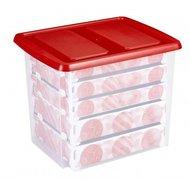 Kerstballen box, met gat-indeling voor 101 kerstballen 45 ltr. - Sunware transparant/rood