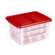 Kerstballen box, met gat-indeling voor 63 kerstballen 32 ltr. - Sunware transparant/rood