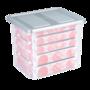Kerstballen box, met gat-indeling voor 101 kerstballen 45 ltr. - Sunware transparant/zilver